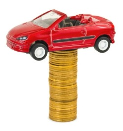 Car parked on money
