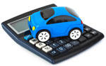 Toy car on calculator