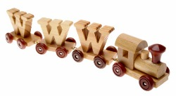 picture of toy train carrying WWW letters