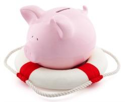 piggy bank on liferaft