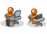 two orange figures working at their computers